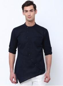 Black Cotton Plain Kurta