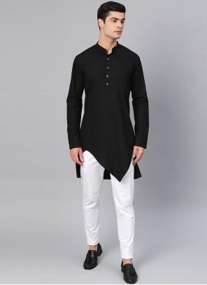 Black Cotton Plain Kurta Pyjama