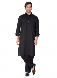 Black Cotton   Plain Kurta Pyjama