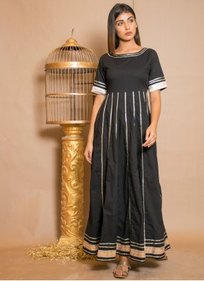 Black Cotton Readymade Gown