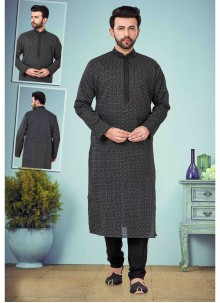 Black Cotton Silk Mehndi Kurta Pyjama