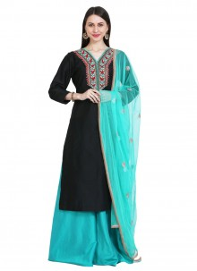 Black Cotton Silk Readymade Suit