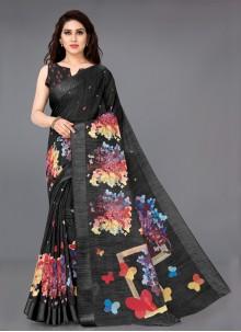 Black Cotton Trendy Saree