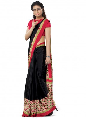 Black Crepe Silk Mehndi Trendy Saree