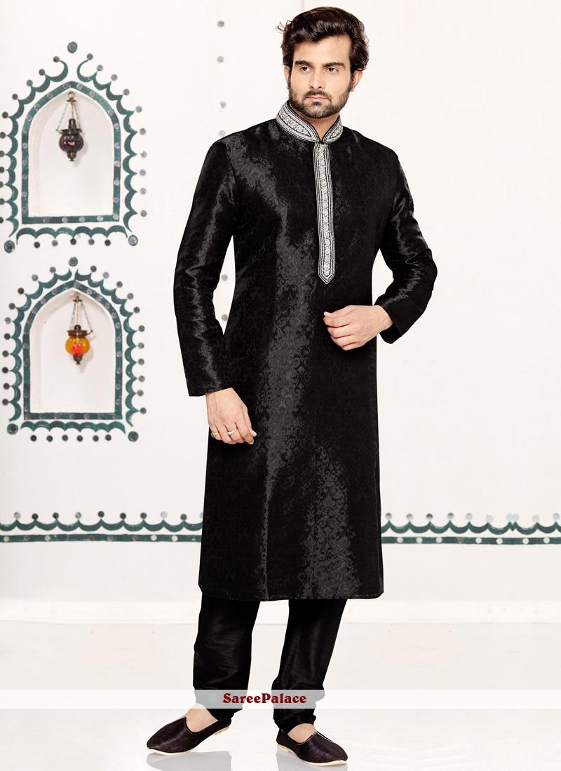 Black Cutdana Work Brocade Kurta Pyjama