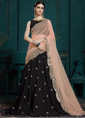 Black Cutwork Faux Georgette Trendy Designer Lehenga Choli