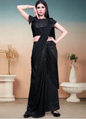 Black Sequins Work Lycra Designer Saree