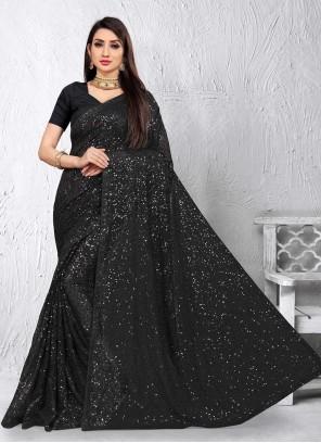 Black Sequins Designer Saree