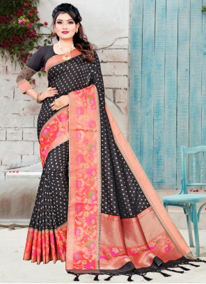 Black Woven Designer Traditional Saree