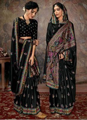 Black Digital Print Banarasi Silk Designer Saree