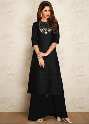 Black Dupion Silk Embroidered Designer Kurti