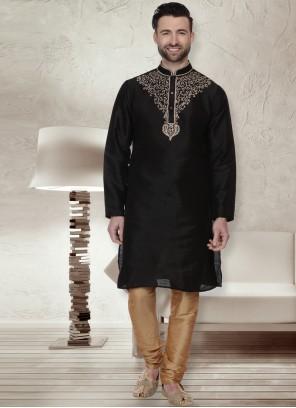 Black Dupion Silk Sangeet Kurta Pyjama