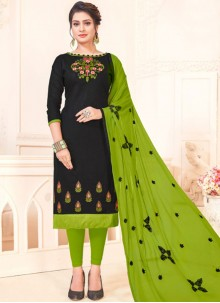 Black Embroidered Casual Churidar Suit