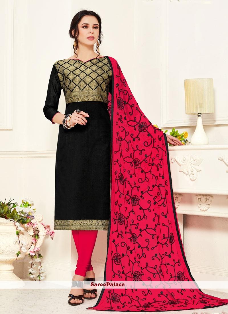 Black Embroidered Casual Salwar Kameez