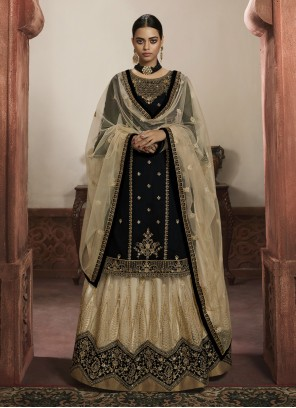 Black Embroidered Ceremonial Designer Lehenga Choli