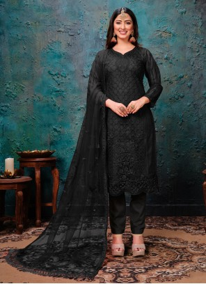 Black Embroidered Ceremonial Pant Style Suit