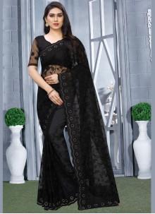 Black Embroidered Classic Designer Saree
