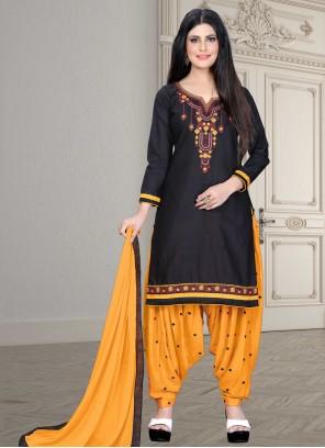 Black Embroidered Cotton Designer Patiala Suit