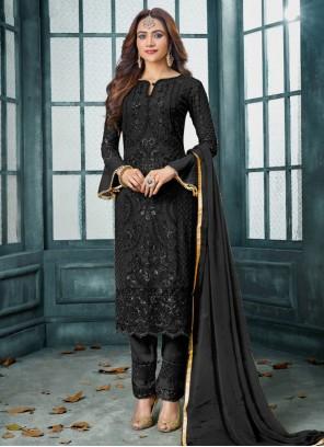 Black Embroidered Designer Salwar Kameez