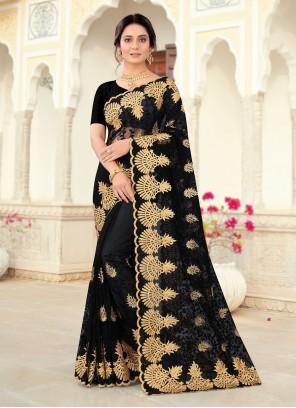 Black Embroidered Designer Saree