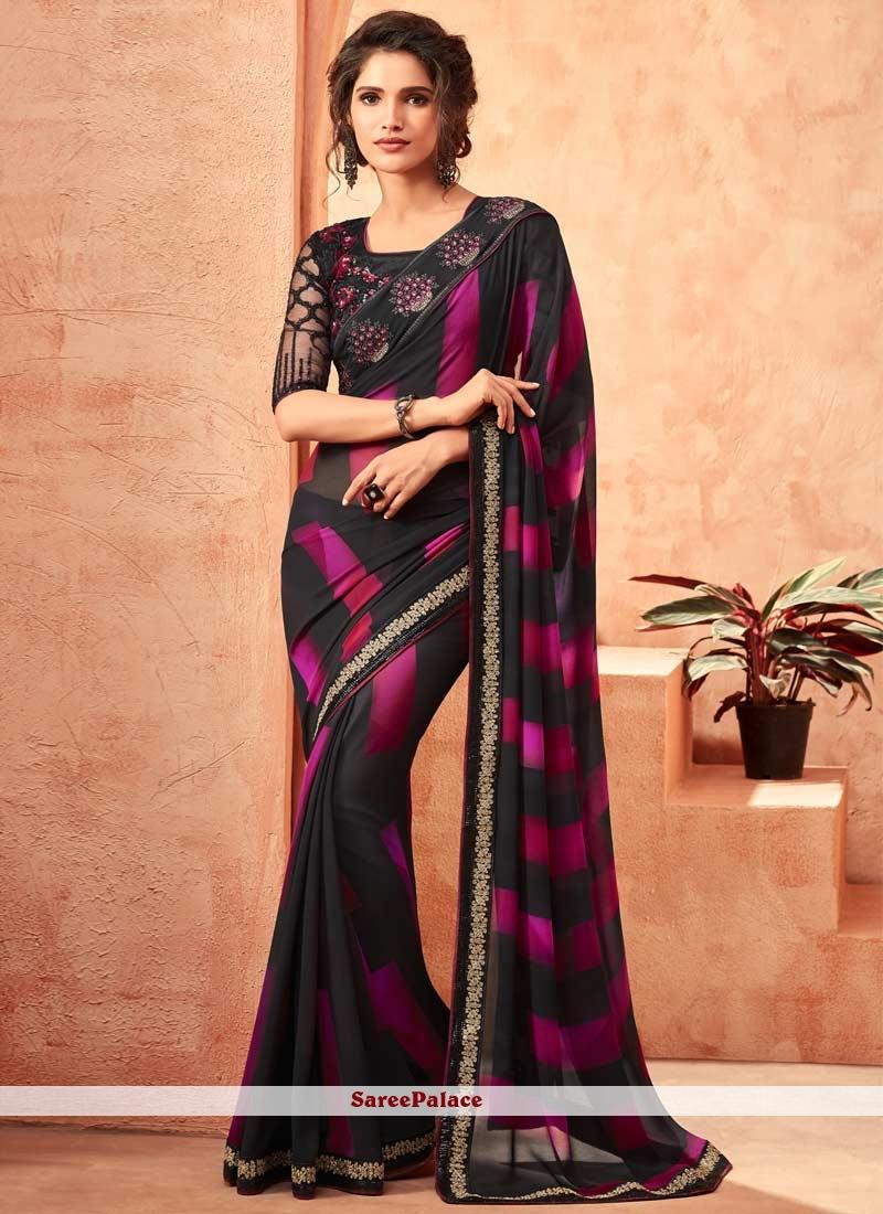 79b5dd85d1d1db Buy Black Embroidered Faux Georgette Classic Designer Saree Online