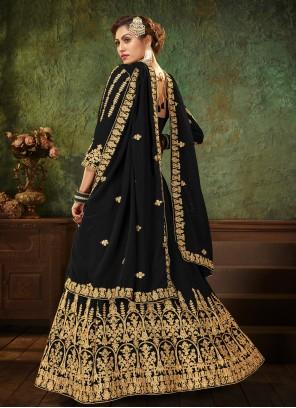 Black Embroidered Faux Georgette Floor Length Anarkali Suit
