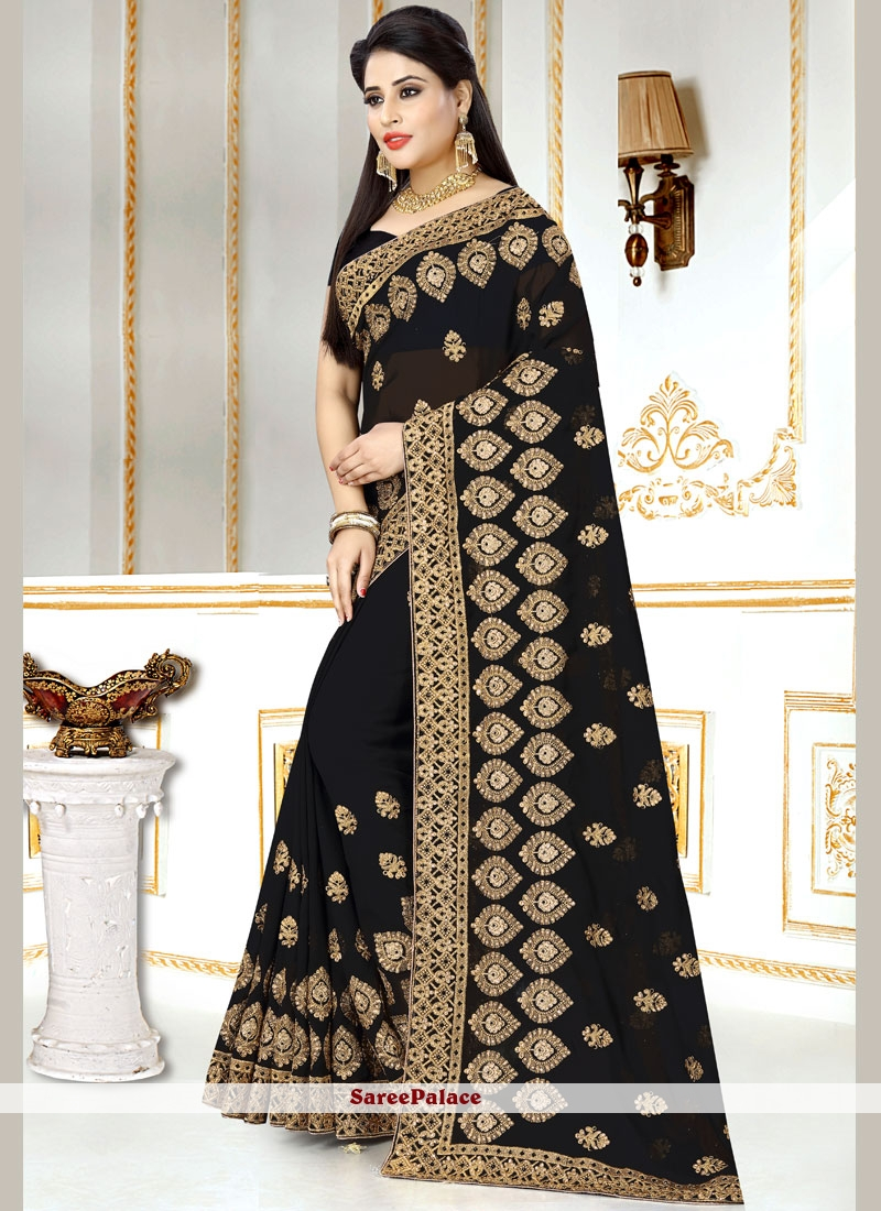 28e90e3a6af848 Buy Black Embroidered Faux Georgette Saree Online