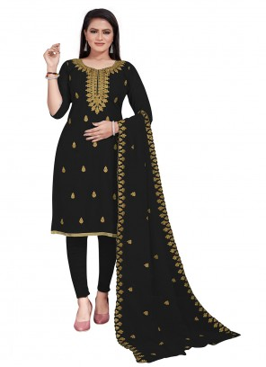 Black Embroidered Festival Churidar Salwar Suit