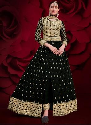 Black Embroidered Festival Floor Length Anarkali Suit