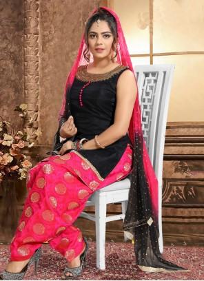 Black Embroidered Festival Salwar Suit