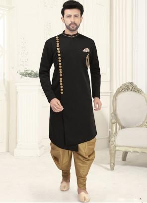 Black Embroidered Indo Western