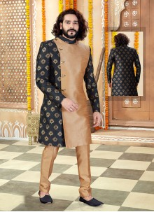 Black Embroidered Jacquard Indo Western