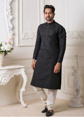 Black Embroidered Jacquard Kurta Pyjama