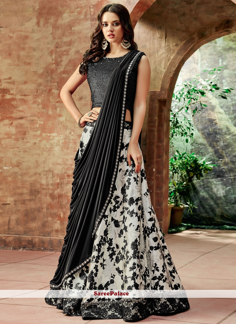 fc8572a2cc Buy Black Embroidered Jacquard Silk Lehenga Choli Online