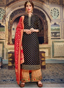 Black Embroidered Jacquard Trendy Palazzo Salwar Kameez