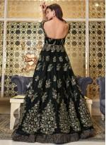 Black Embroidered Long Choli Lehenga