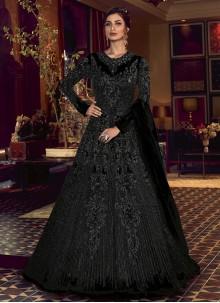 Black Embroidered Net Floor Length Anarkali Suit