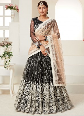 Black Embroidered Net Lehenga Choli
