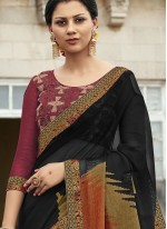 Black Embroidered Party Classic Saree