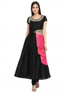 Black Embroidered Party Readymade Churidar Salwar Kameez