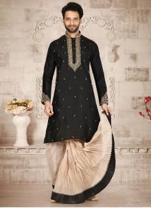 Black Embroidered Pure Silk Dhoti Kurta