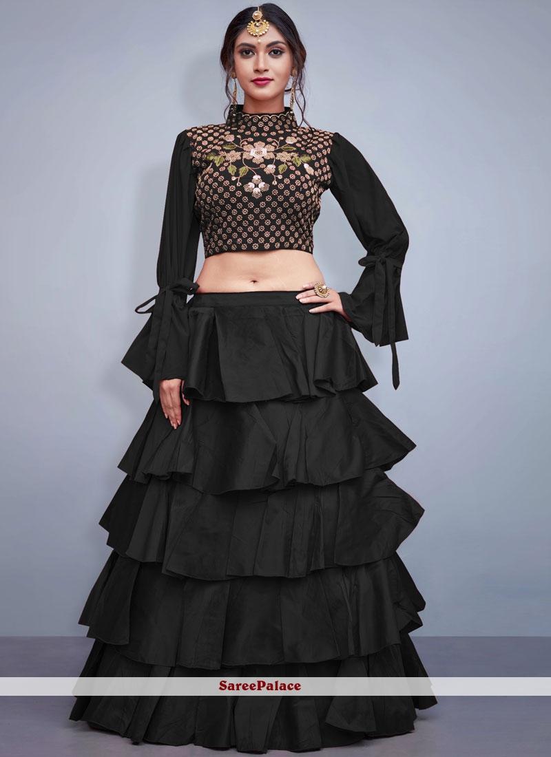Black Embroidered Readymade Lehenga Choli