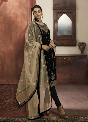 Black Embroidered Readymade Salwar Suit