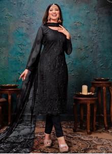 Black Embroidered Sangeet Churidar Designer Suit