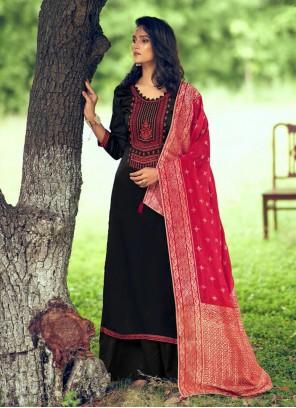 Black Embroidered Silk Designer Palazzo Salwar Kameez