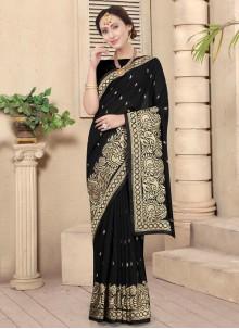 Black Embroidered Silk Designer Traditional Saree