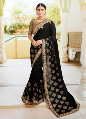 Black Embroidered Traditional Designer Saree