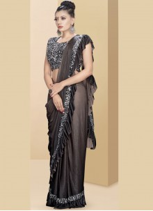 Black Embroidered Traditional Saree