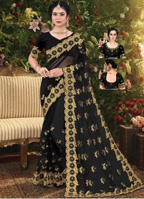Black Embroidered Net Trendy Saree