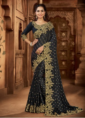 Black Embroidered Wedding Trendy Saree